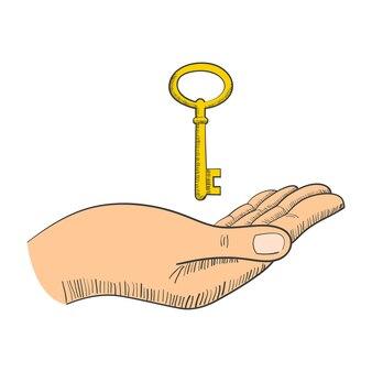 Eenvoudige afbeelding van een hand met sleutel