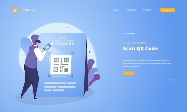 Eenvoudige betalingstransactie met het illustratieconcept van de scan qr-code