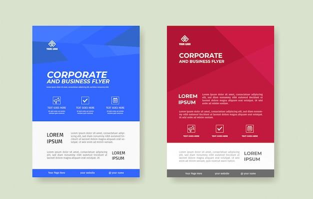 Eenvoudige blauwe en rode flyer poster sjabloon set