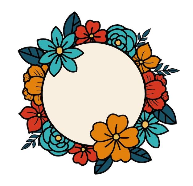 Eenvoudige bloemenkrans met eenvoudige kleur