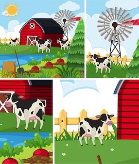 Eenvoudige boerderij achtergrond set