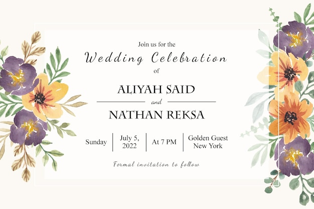 Eenvoudige bruiloft uitnodiging bloemen aquarel kaartsjabloon