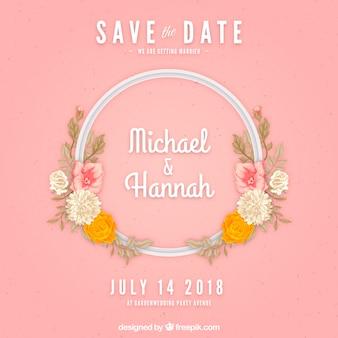 Eenvoudige bruiloft uitnodiging in platte ontwerp