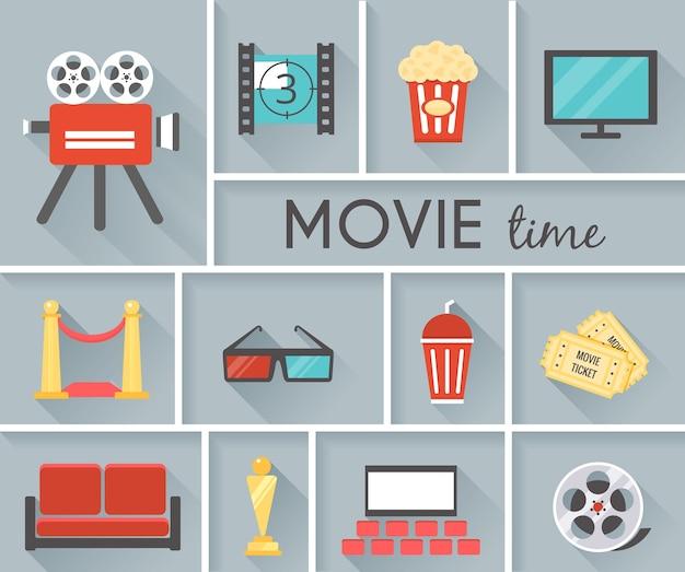 Eenvoudige conceptuele filmtijd grafisch ontwerp met grijze achtergrond.