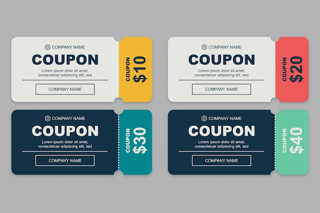 Eenvoudige coupon set