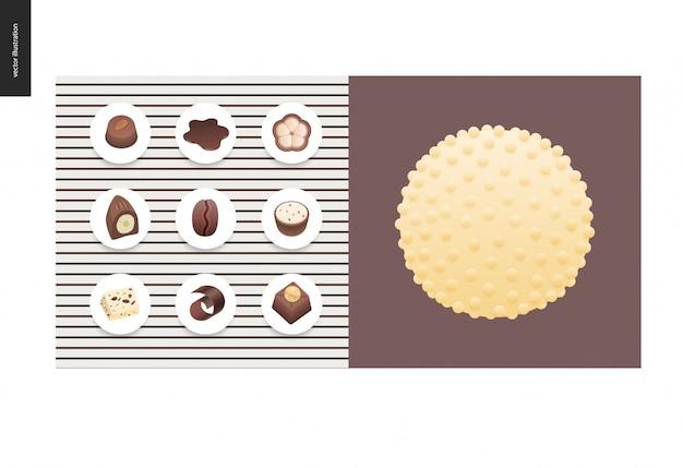 Eenvoudige dingen - maaltijd - platte cartoon vectorillustratie van set van donkere en witte chocolade frisse bonbons en bars, chocoladeschilfers, koffie en cacao bonen en warme chocolademelk