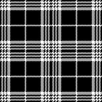 Eenvoudige donkere stof check zwart wit naadloos patroon