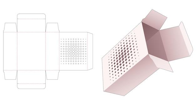Eenvoudige doos met gesjabloneerde halftoonstippen gestanst sjabloon