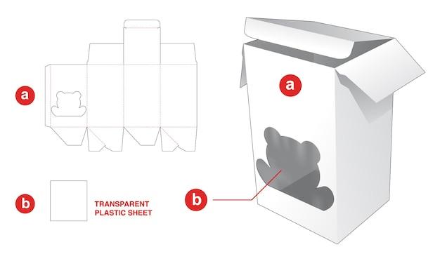 Eenvoudige doos met gestanste sjabloon in de vorm van een beer