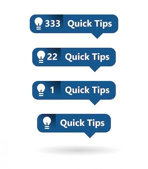 Eenvoudige duidelijke notificatieborden voor snelle tips
