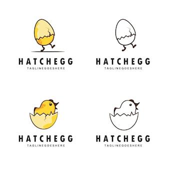 Eenvoudige eieren die kuikens uitbroeden lopen met inspiratie voor het ontwerp van een eierschaallogo. platte gele kleur
