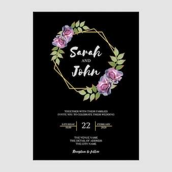 Eenvoudige elegante bruiloft uitnodiging sjabloon