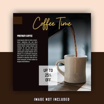 Eenvoudige elegante bruine drank coffeeshop social media postsjabloon