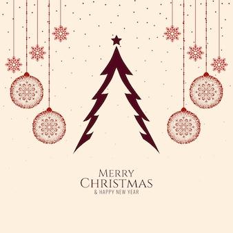 Eenvoudige elegante merry christmas festival viering achtergrond
