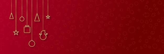 Eenvoudige elegante mooie kerstbannerachtergrond op rood met gouden lijnen
