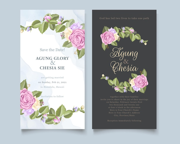Eenvoudige en elegante huwelijksuitnodiging of menureeks