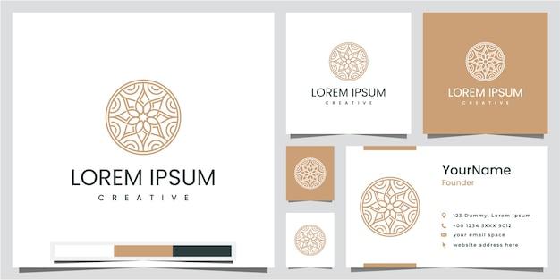 Eenvoudige en elegante monoline bloemsjabloon, inspiratie voor logo-ontwerp