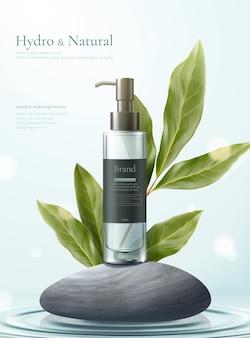 Eenvoudige en natuurlijke mockups voor huidverzorgingsconcepten op grijze kiezelstenen met citroen-eucalyptusbladeren