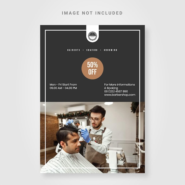 Eenvoudige flyer kapperszaak ontwerpsjabloon