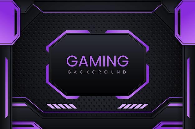 Eenvoudige gaming-achtergrond met donkerpaars verloop vectorontwerp en geometrie-ornament