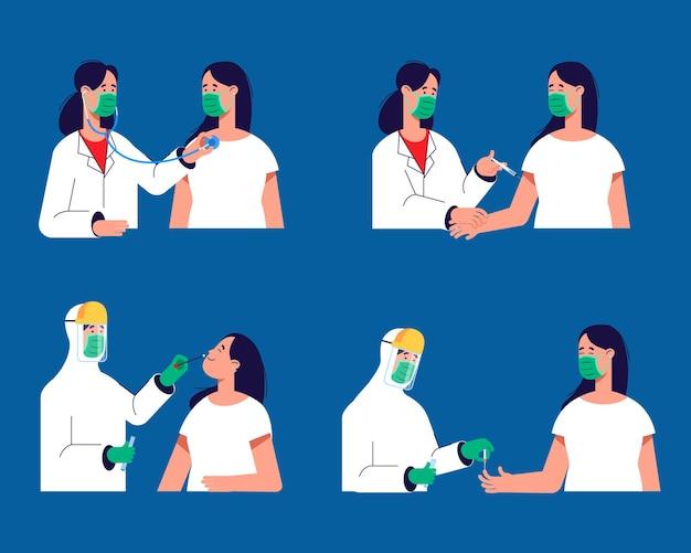 Eenvoudige geïllustreerde activiteit van de arts om de patiënt te behandelen om de verspreiding van griep te voorkomen
