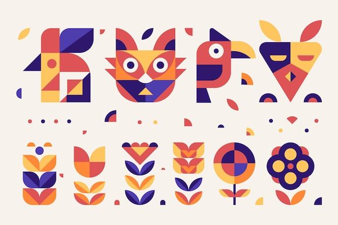 Eenvoudige geometrische elementen platte ontwerpcollectie