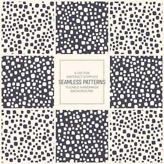 Eenvoudige gestippelde naadloze patronen set