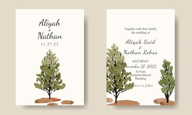 Eenvoudige groene boom aquarel bruiloft uitnodiging kaartsjabloon