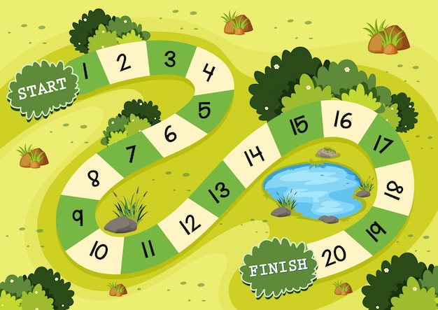 Eenvoudige groene natuur bordspel sjabloon