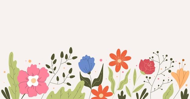 Eenvoudige hand getekend bloemen veld bloemen frame achtergrond concept
