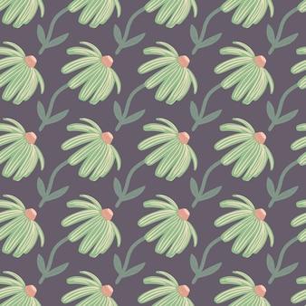 Eenvoudige hand getrokken bloem silhouetten naadloze patroon