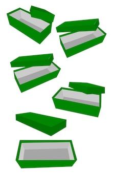 Eenvoudige hand tekenen schets vector sjabloon of mockup paarse schoenendoos, geïsoleerd op wit