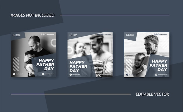 Eenvoudige happy father day social media post