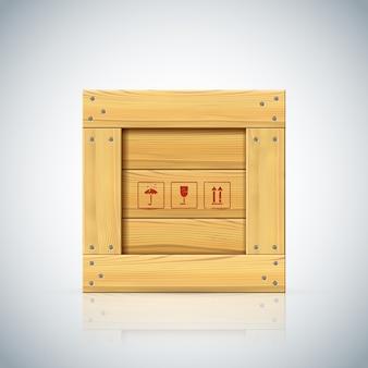 Eenvoudige houten kist met houten randen