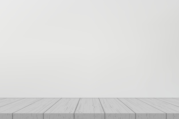Eenvoudige houten plank op witte muur