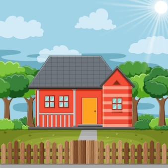 Eenvoudige huis landschap illustratie