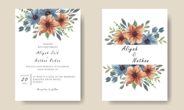 Eenvoudige huwelijksuitnodiging met aquarel bloemen blauw