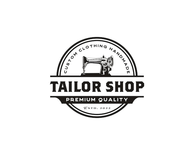 Eenvoudige illustratie van handmatige naaimachine logo kleermaker logo ontwerpsjabloon