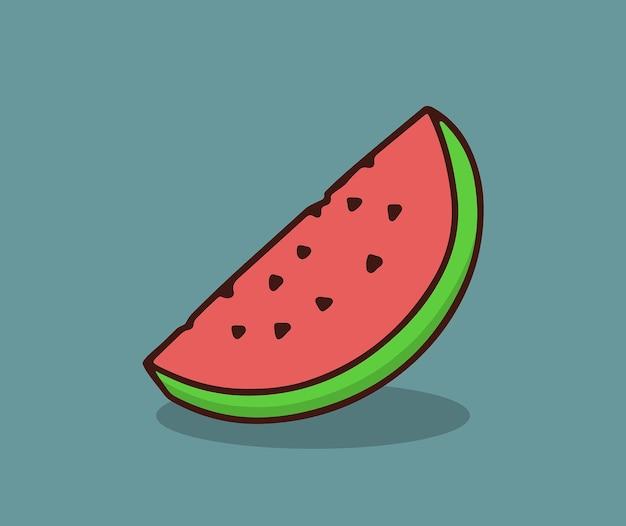 Eenvoudige illustratie van verse watermeloen Premium Vector
