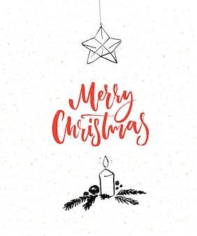 Eenvoudige kerstkaart met rode borstel kalligrafie tekst merry christmas en zwarte illustratie van kaars en ster decoratie.