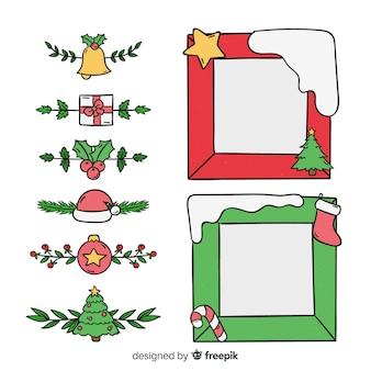Eenvoudige kerstmiskaders en grenzen