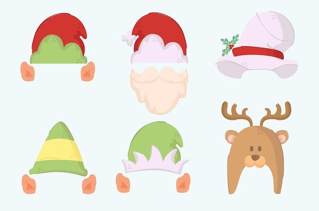 Eenvoudige kerstmutsen illustratie set