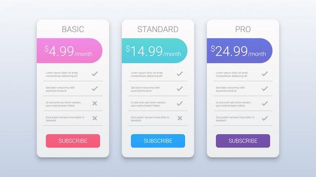 Eenvoudige kleurrijke prijzen tabel sjabloon voor web