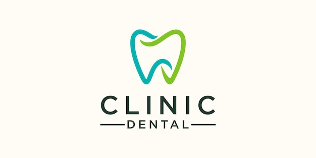 Eenvoudige kliniek tandheelkundige logo ontwerpsjabloon