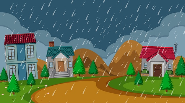 Eenvoudige landelijke huis regenachtige nacht