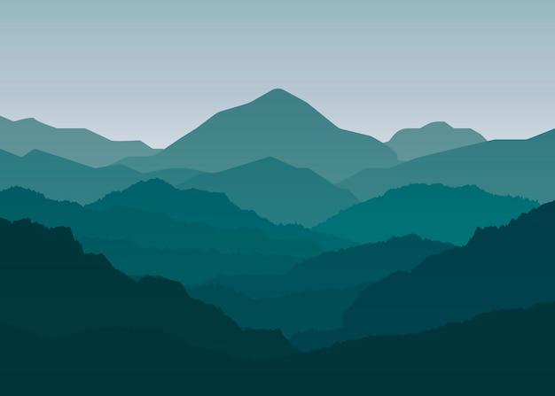 Eenvoudige landschap bergen illustratie