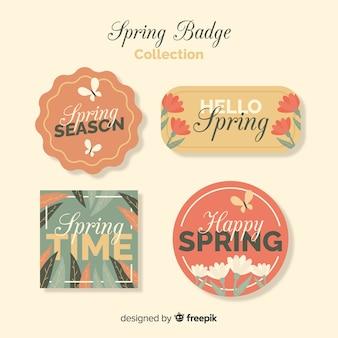 Eenvoudige lente badge set