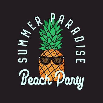 Eenvoudige lijn kunst vector logo ontwerpsjabloon met tropische ananas en summer paradise beach party belettering op zwarte achtergrond
