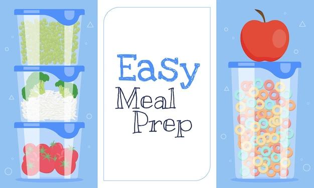 Eenvoudige maaltijdvoorbereiding horizontale sjabloon