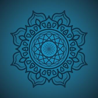 Eenvoudige mandala op groenblauw achtergrond